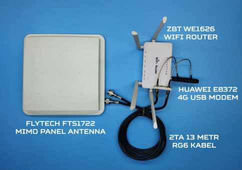 4G WIFI комплект Dacha-1 ZBT WE1626 WIFI роутер с Huawei E8372 USB модемом и Flytech антенной